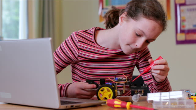 Female High School Pupil Building Robot Car In Science Lesson