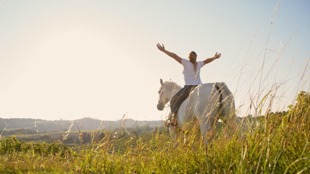 SLO MO Female horse rider enjoys the freedom in nature video