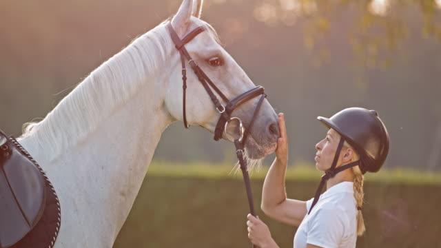 SLO Missouri femelle cheval Cavalier des caresses sur le nez dans la nature - Vidéo