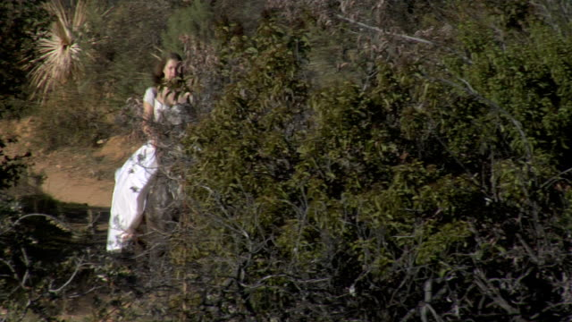 Female Horse Rider Young woman in a long white dress riding in a trot a brown/pale horse on a trail through brush mountain terrain on a sunny day, dry climate, desert vegetation, tracking long shot (LS), approaching camera, then camera right, sounds of horse hoofs, birds. princess stock videos & royalty-free footage