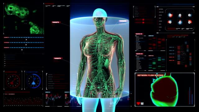 Female Human body scanning lymphatic system in digital display dashboard. video