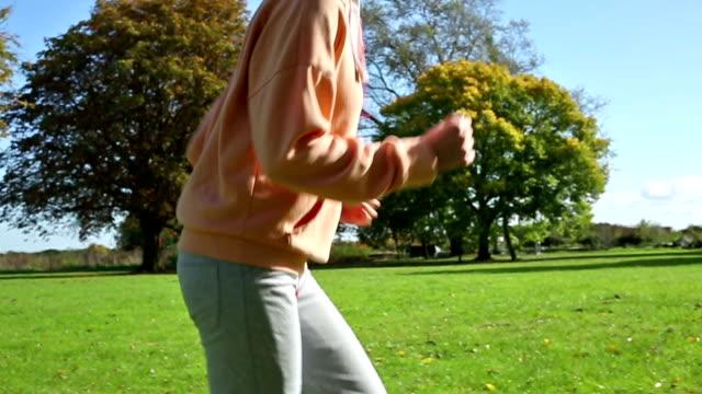 Female jogger running video