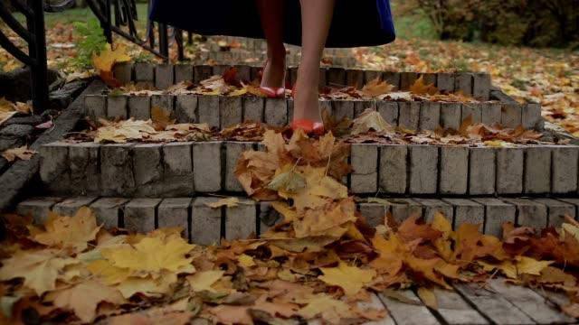 Female legs in heels stepping downstairs in autumn video
