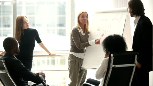 Female manager presenting new project plan to coworkers at meeting Female manager presents new project plan to colleagues at meeting, explaining ideas on flipchart to coworkers in office, businesswoman gives presentation, discussing ideas with diverse business team whiteboard visual aid stock videos & royalty-free footage