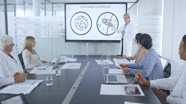 female medical researcher giving an animated presentation of a virus on the screen in conference room - leanincollection stock videos & royalty-free footage