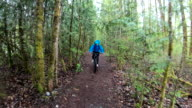 istock Female mountain biker rides along forested path 1221878266