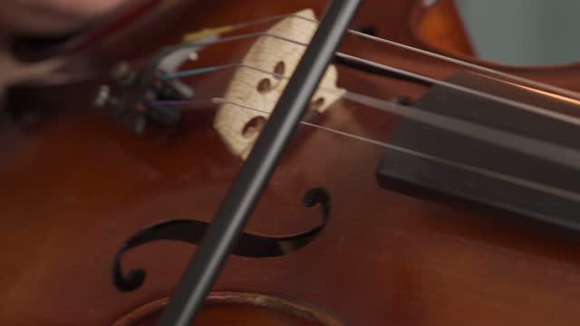 vídeos de stock e filmes b-roll de female musician playing on the violin - compositor
