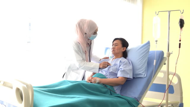 Female muslim doctors comforted female patients. video