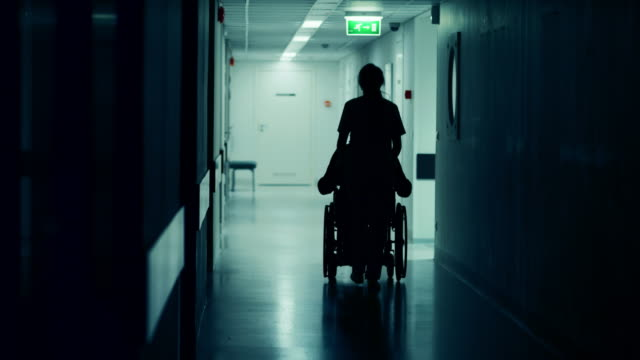 female nurse pushing patient in the wheelchair through the hospital corridor, they are going to the procedures. bright modern hospital with friendly staff. - pchać filmów i materiałów b-roll