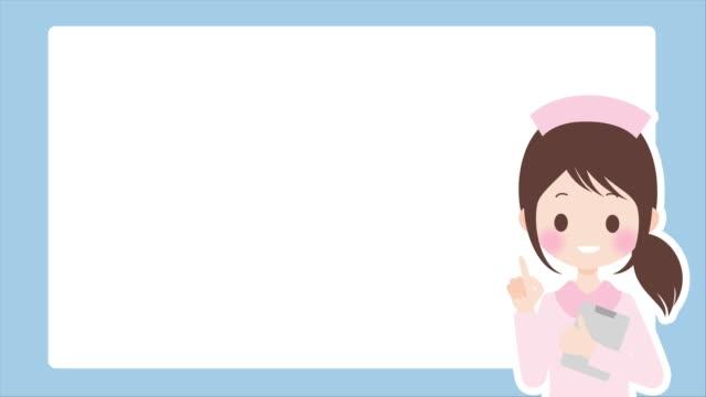 female nurse to explain and copy space - kawaii video stock e b–roll