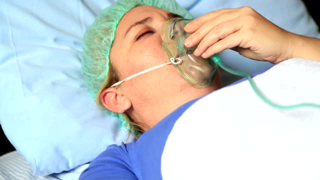 Female Patient with oxygen mask video
