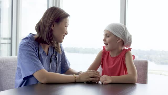 女性医師ががんの小児に相談 - 回復点の映像素材/bロール