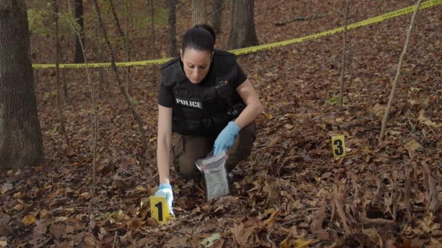 vídeos y material grabado en eventos de stock de detective de policía femenina en woods recogiendo pruebas forenses - guante quirúrgico