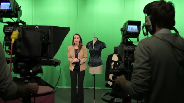 Female Presenter in studio talking to camera video