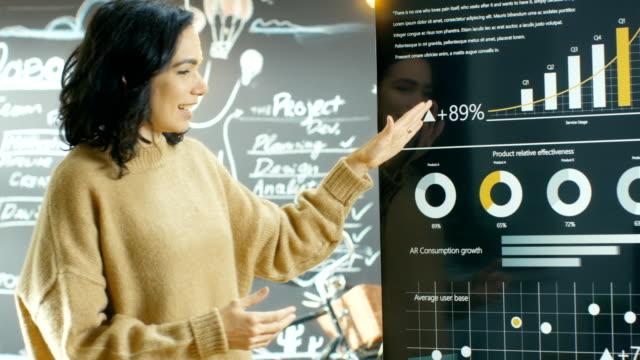Chef de projet femelle cales réunion montre des statistiques graphiques sur le périphérique de l'écran tactile de tableau blanc interactif. Elle travaille dans l'Agence Creative élégant. - Vidéo