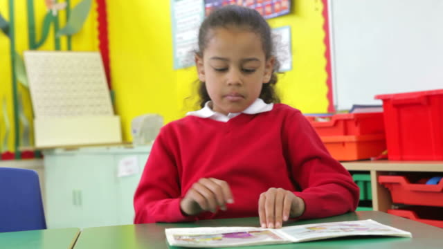 Female Pupil Reading Book At Table video