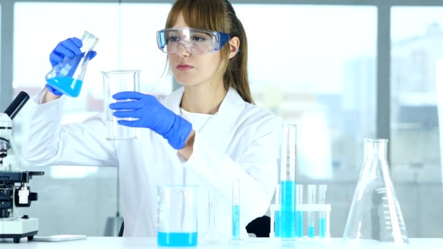 Female Research Scientist Pouring Chemical in Beaker for Reaction in Laborato Female Research Scientist Pouring Chemical in Beaker for Reaction in Laboratory beaker stock videos & royalty-free footage