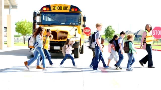 vidéos et rushes de la femelle de croisement d'école de garde guide le groupe des enfants d'école à travers une rue - élève