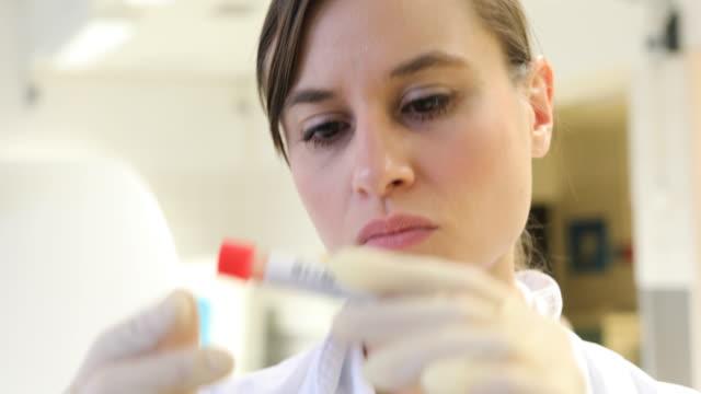 Mujer científico leyendo la etiqueta de la botella de muestra - vídeo