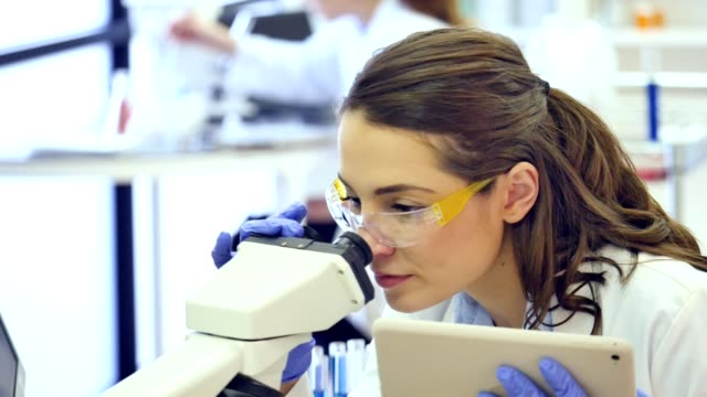 Female scientist uses digital tablet and microscope in research lab video
