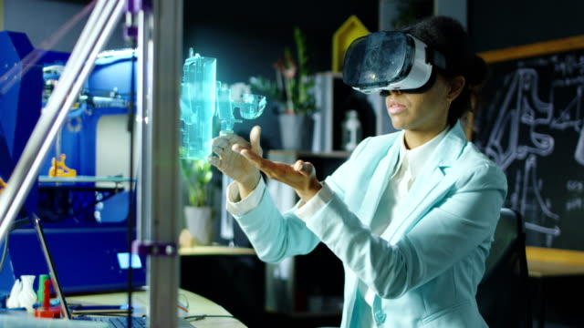 Female scientist using VR headset