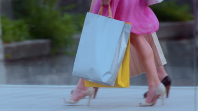 TS Female shopping day walk across street video