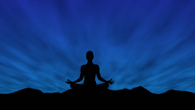 Female silhouette meditating under a starry night sky Female silhouette meditating under a starry night sky. lotus position stock videos & royalty-free footage