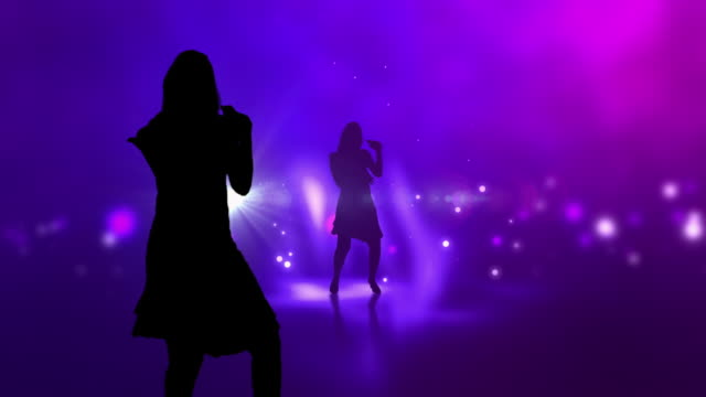 Female Singer Silhouette On Colourful Background Animation