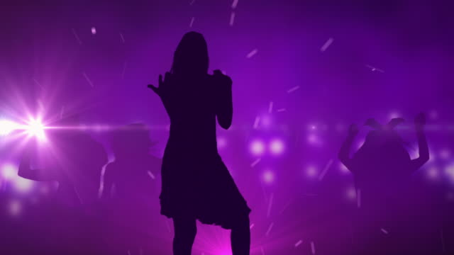Female Singer Silhouette On Colourful Background video