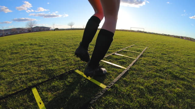 Video Female Soccer Player Doing Footwork Drills