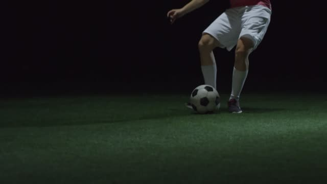 Female Soccer Player Kicking Ball at Camera video