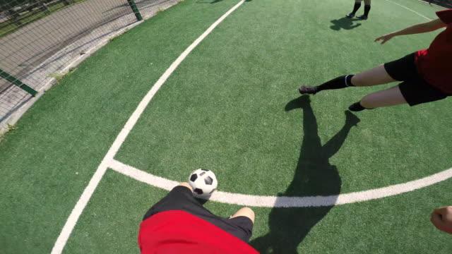 POV of Female Soccer Player Scoring a Goal