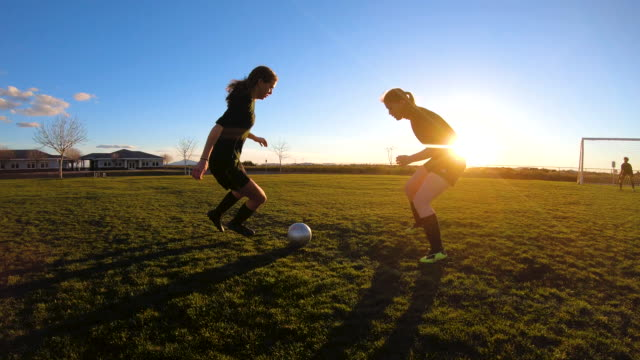 female soccer players battle for ball - praticare video stock e b–roll