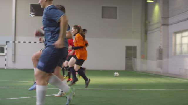 Female Soccer Team Exercising on Field before Game Group of professional female soccer players in sportswear performing high knee and heel-to-butt run while training together on indoor field pre game stock videos & royalty-free footage
