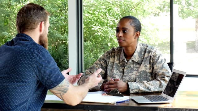 Female soldier applies for loan at a bank video