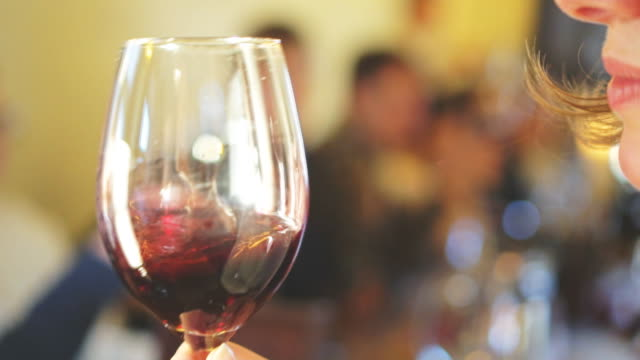 Female sommelier sniffs glass of wine before drinking. video