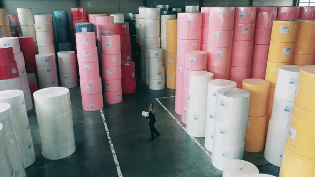 Female specialist observing large paper warehouse video