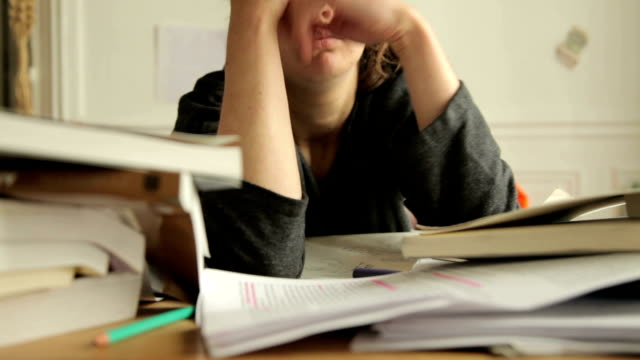 Female student tired of studies video