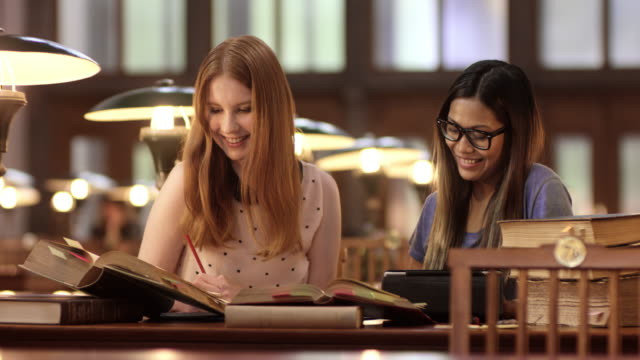 DS Female students studying together in the library