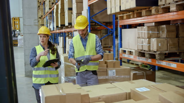 Female supervisor and her male colleague asking the forklift operator to put the pallet on the rack in the warehouse video