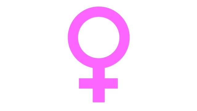 female symbol icon in and out animation pink - femminilità video stock e b–roll