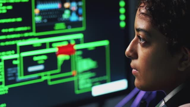 kvinna tonårs hacker sittande framför computern skärmen förbifartsleden cyber trygghet - kryptering bildbanksvideor och videomaterial från bakom kulisserna