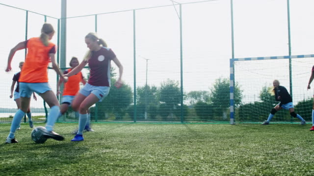 Female teenage soccer team on arena Young girls training soccer on outdoor playground that fenced by net goal post stock videos & royalty-free footage
