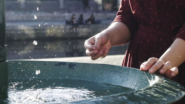female tourist throwing coin into fountain - fontana struttura costruita dall'uomo video stock e b–roll