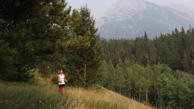 Female trail runner follows trail along grassy ridge crest Mountains and forest distant, Alberta pedal pushers stock videos & royalty-free footage