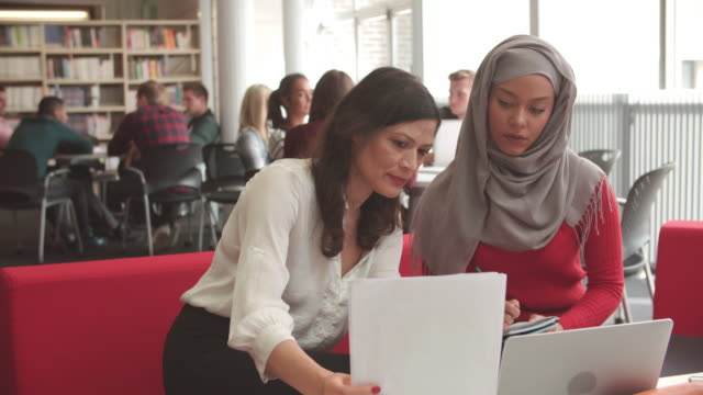 Female University Student Working In Library With Tutor video