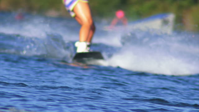 HD Female Wakeboarder on Lake Close-up video