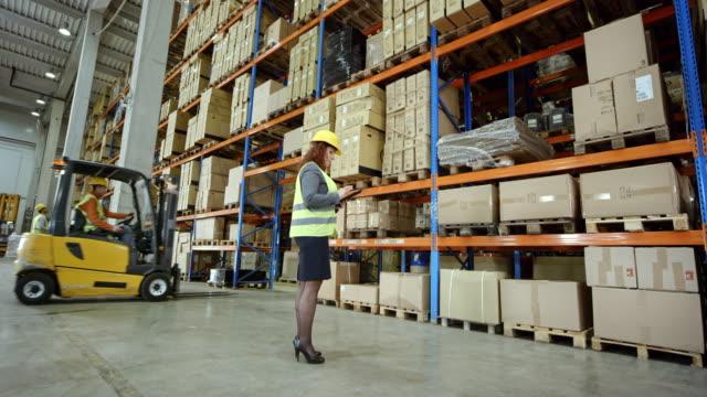 CS Female warehouse supervisor checking the pallet racks video