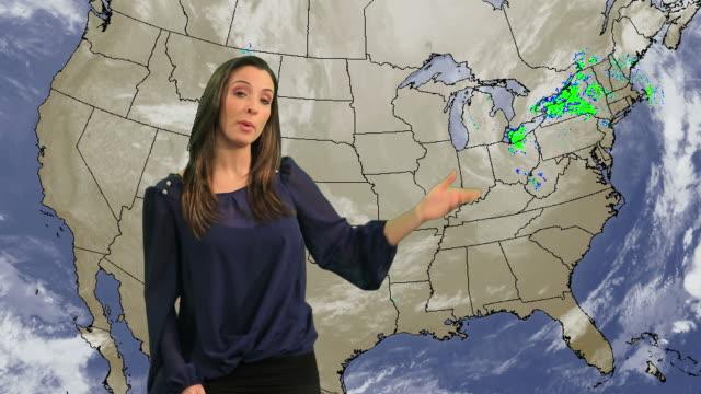 Female weather presenter video