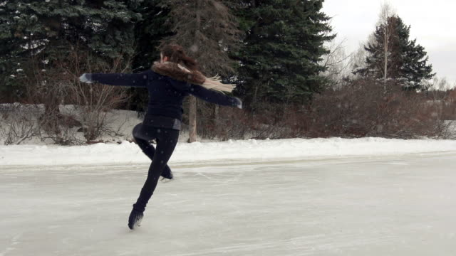 Female young adult skates in freedom. video